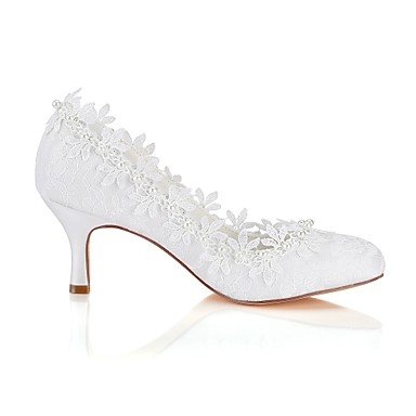 Best 4U? Women's Shoes Stretch Satin Spring Fall Basic Pump Wedding Shoes Stiletto Heel Round Toe Applique Pearl for Wedding Party Evening Ivory ivory NTxdx