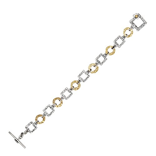 Toggle Hammered Square - Mirage Hammered Round & Square Link Bracelet with Toggle