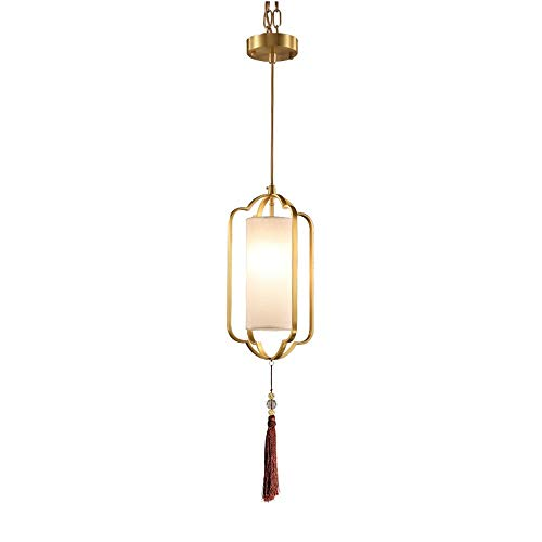 WPOLED Chinese Style LED Chandelier Creative Home Pendant Light Pure Copper Process Modern Art Hanging Light Kitchen Restaurant Cafe Bar Bedroom Ceiling Lamp Adjustable