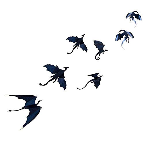Dazonge Dragon Wall Decals-7 Pack Lot Game of Thrones Spired DIY Halloween Gothic 3D Removable Dragon Wall Stickers for Wall Decor,Home Decoration. -