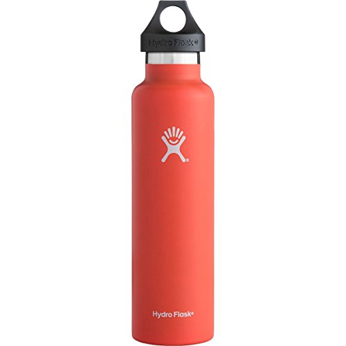 Hydro Flask 24 oz Vacuum Insulated Stainless Steel Water Bottle, Standard Mouth w/Loop Cap, Tangelo