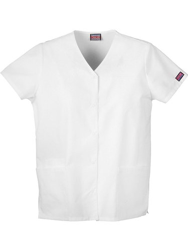 Cherokee Women's Workwear Scrubs Snap Front V-Neck Top, White, Medium