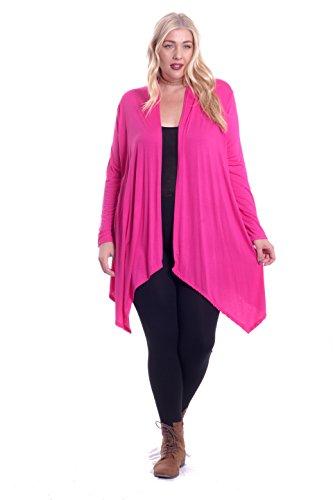 Front Jersey Cardigan (Hot Ginger Women's Plus Size Long Sleeve Open Front Drape Cardigan (Fuschia, 4X))