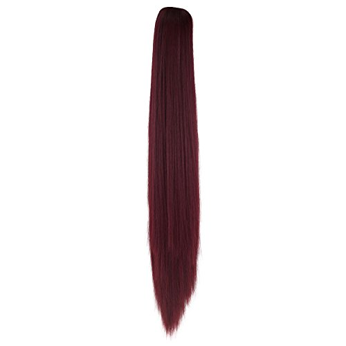 Miss U Hair Unisex Cosplay Hair Wig Long Straight Claw Ponytail Hairpieces for Kids and Adult (Burgundy) (Long Straight Hair Extensions)