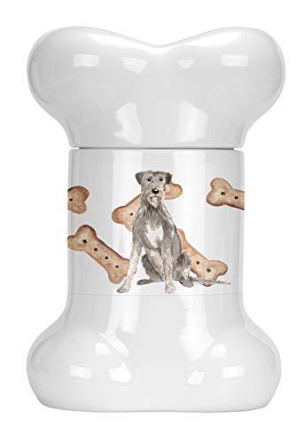 Caroline's Treasures CK2318BSTJ Irish Wolfhound Bone Shaped Treat Jar, 9 in, Multicolor