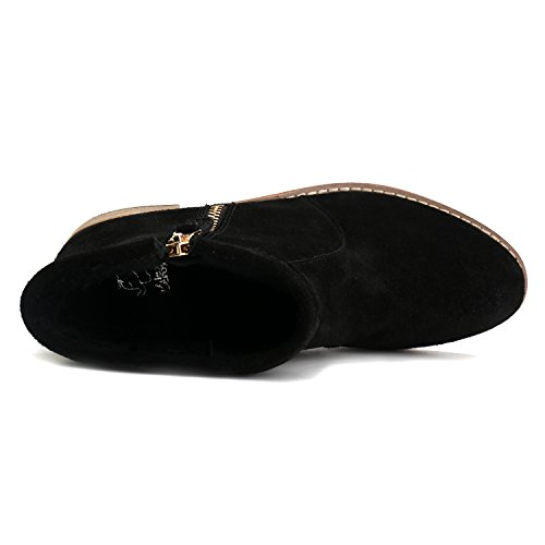 Cremallera con Mujer de Cuero Leroy Botines Chelsea Zapatos Alexis Negro 8xqRwtfw