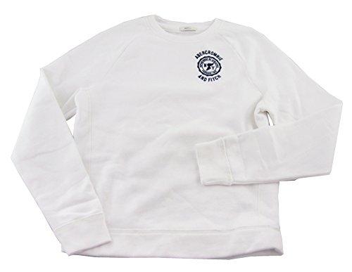 Abercrombie Men's Pullover Crewneck Sweatshirt, White, medium