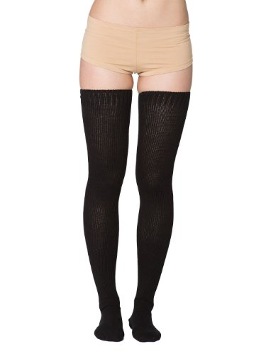 American Apparel Women's Cotton Solid Thigh-High Socks Size OS Black