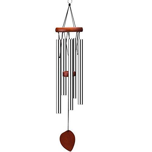 UNIQOOO Wood Base and Aluminum Tubes Wind Chime- 22-inch Length- Soothing, Relaxing, and Gentle Melody- Great Gift for Decoration of Indoors or Outdoor Porch, Garden, and Patio ()