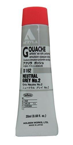 Holbein Acryla Gouache Artists Acrylic Polymer Emulsion, 20ml Neutral Grey 2 (D162)