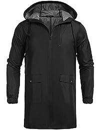 Men's Waterproof Hooded Rain Jacket Lightweight Windproof Active Outdoor Long Raincoat