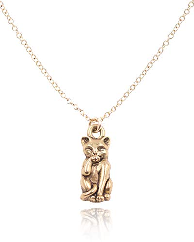 MaeMae 14K Gold Filled Feline Cat Necklace, 16