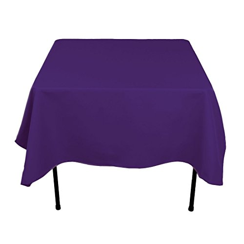 Gee Di Moda Square Tablecloth - 70 x 70 Inch - Purple Square Table Cloth for Square or Round Tables in Washable Polyester - Great for Buffet Table, Parties, Holiday Dinner, Wedding & More (Linen Table Purple)