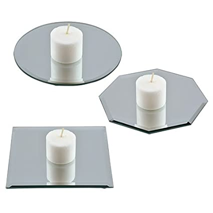 Amazon.com: Glass Round Beveled Centerpiece Table Mirror Candle Plate  Holder Set Of 3: Home U0026 Kitchen