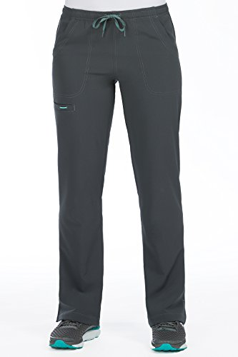 Pant Drawstring Scrub Lounge (Med Couture Women's 'Air Collection' Cloud 9 Scrub Pant, Pewter/Aruba Blue, Small Petite)