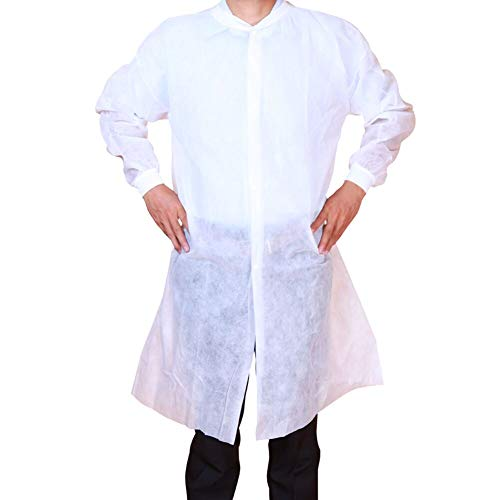 Cleaing Disposable Lab Coats Adult 2XL,No Pockets,GSM 40g,Knitted Collar and Cuffs,White,5 Pack