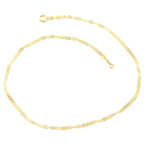 Kooljewelry 10k Yellow Gold Flat Twisted Love Link Anklet (1.85 mm, 10 - Twisted Gold Anklet