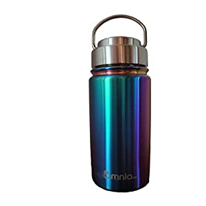 Omnia h2o Canteen -12oz Vacuum Insulated Stainless Steel Water Bottle - Wide Mouth Flask with All Metal Lid - Enjoy Hot and Cold Drinks in this Sweatproof Water Bottle (Abalone Shell)