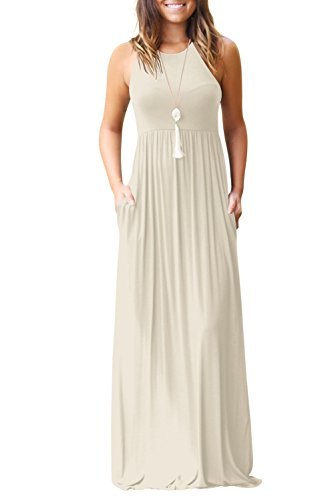 (Fantastic Zone Women's Sleeveless Racerback Loose Plain Maxi Dresses Casual Long Dresses with Pockets Beige-M)