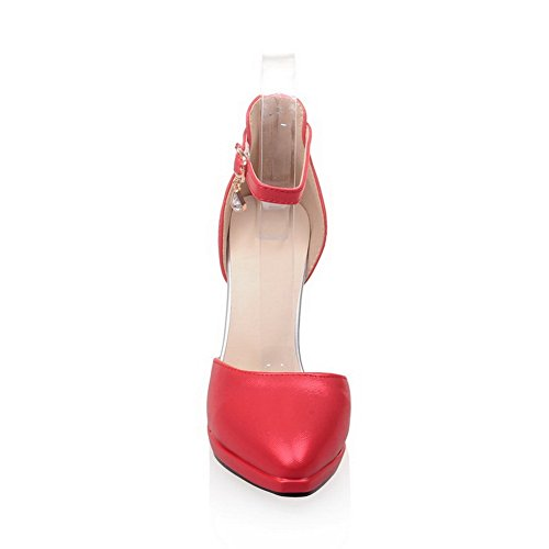 1TO9 Ladies Studded Rhinestones Metal Buckles Pointed-Toe Polyurethane Pumps-Shoes Red IwILI