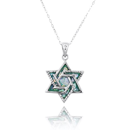 NRG Judaica 925 Sterling Silver Pendant with Genuine Roman Glass Stone ()