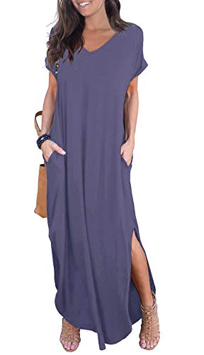 GRECERELLE Womens Casual V Neck Side Split Beach Dresses Long Maxi Dress Purple Gray-XS