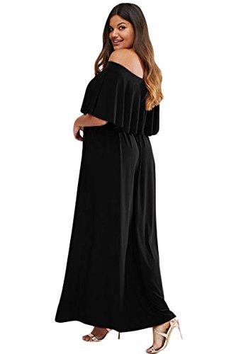 Mesdames noir taille plus Off épaule Maxi robe d'été Robe Jersey Long Parti robe taille XL UK 14EU 42