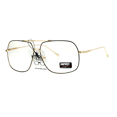 SA106 Nerd Geeky Oversize Rectangular Pilot Eye Glasses Black Gold