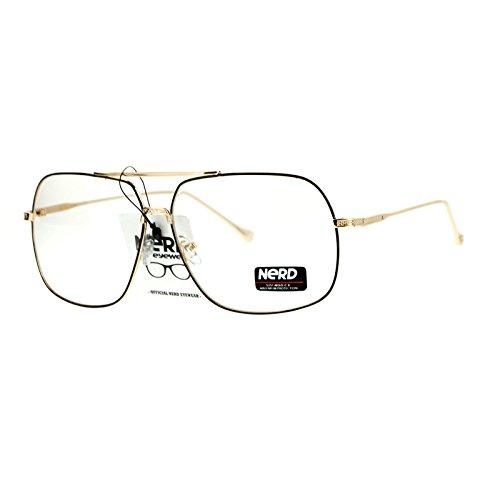 SA106 Nerd Geeky Oversize Rectangular Pilot Eye Glasses Black Gold ()