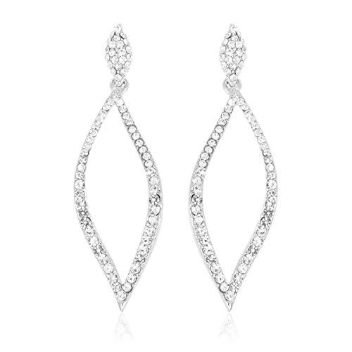 Sparkly Rhinestone Chandelier Statement Drop Earrings - Bridal Wedding Crystal Cubic Zirconia Geometric Dangles Rectangle, Teardrop, Pointed Oval Marquise, Rhombus (Crystal Leaf - ()
