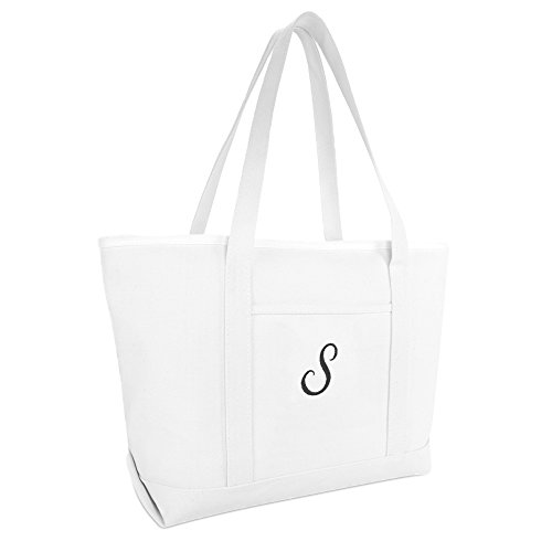 DALIX Large Canvas Tote Bag for Women Work Bag Beach Totes Monogrammed White S
