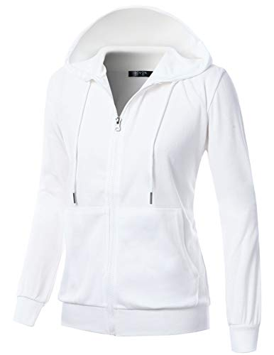 Cotton Ribbed Sweatshirt - GIVON Womens Comfortable Long Sleeve Lightweight Zip-up Hoodie with Kanga Pocket/DCF200-WHITE-M
