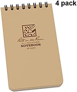 """product image for Rite in the Rain 935T, 3"""" x 5"""" Waterproof Notebook, Tan, Multi Pack (4)"""