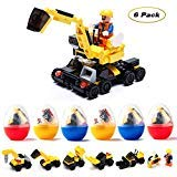 Flyglobal 6 Pack Mini Building Blocks Set, 127 Pieces Building Bricks Toy for Kids to Build Different Kinds of Construction Vehicles as Party Favors]()