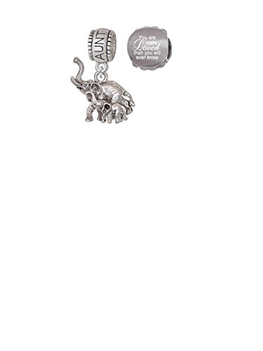 Elephant with Baby Aunt Charm Bead with You Are More Loved Bead (Set of 2)