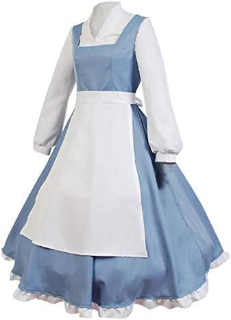 SIDNOR Beauty and The Beast Cosplay Costume Princess Belle Outfit Maid Dress Suit Ball Gowns (Small)