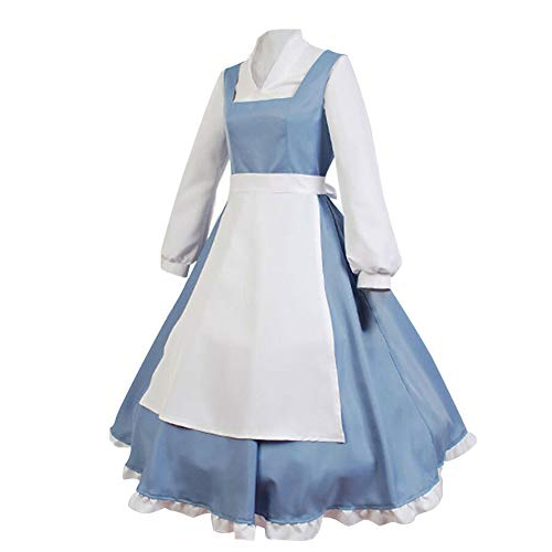 SIDNOR Beauty and The Beast Cosplay Costume Princess Belle Outfit Maid Dress Suit Ball Gowns (Medium) -