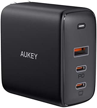 "USB C Charger, AUKEY Omnia 90W 3-Port MacBook Pro Charger with GaNFast Technology, PD Charger USB C Fast Charger USB C Laptop Charger for MacBook Pro 16"", iPhone 11 Pro Max, Galaxy S20+/Note 20 Black"
