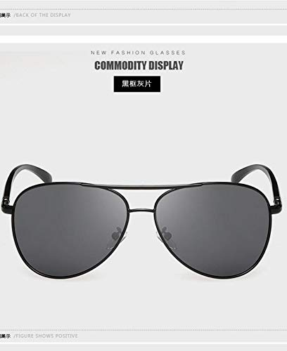 send her boyfriend men's high-end sunglasses box polarized sunglasses aluminum sunglasses face-lift anti-sandstorm lovers yurt car driver driving sunglasses (black frame gray lens ()