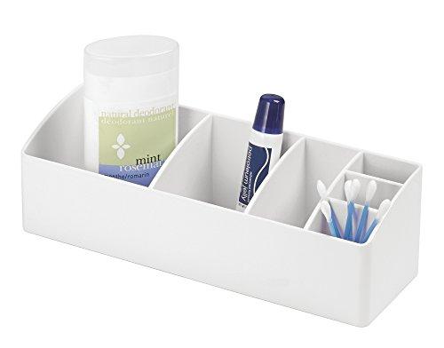 mDesign Bathroom Medicine Cabinet Organizer for Medical Supplies, Vitamins, Cotton Swabs – White