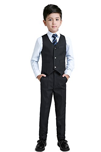 Yuanlu Boys Suits With Blazer Pants Vest Shirt and Tie Kids Suit For Wedding Size 12 Black by Yuanlu (Image #4)