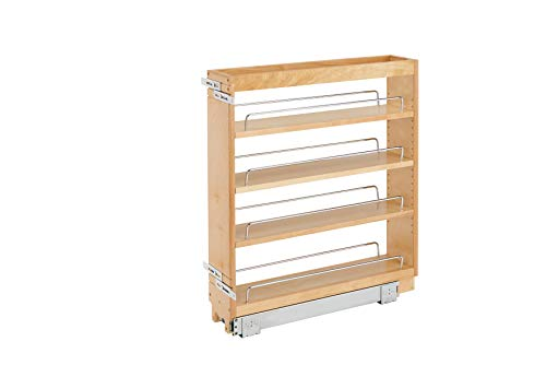 Cabinet Side Mount Brackets - Rev-A-Shelf - 448-BC-5C - 5 in. Pull-Out Wood Base Cabinet Organizer