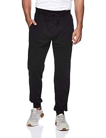 BodyTalk Men's Tight Fit Sweatpants, Black, Large