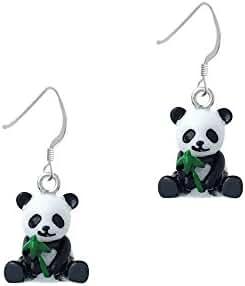 Resin Panda Bear French Earrings