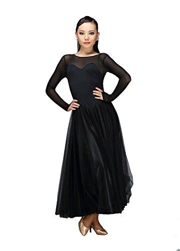 [M9103 StarDance Women's Ballroom Smooth Showcase Practise Dance Costume Dress (L(US size 4), Black)] (Dancesport Standard Costume)