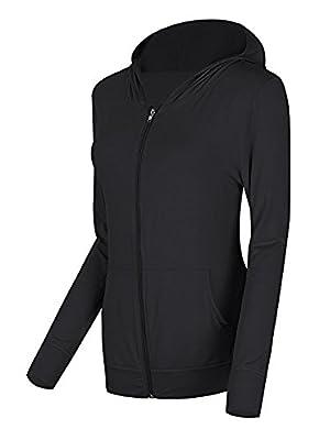 Urban CoCo Women's Zip Hoodie Sweatshirt Lightweight Active Jacket