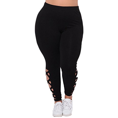 Clearance Sale! Women Pants WEUIE Women Plus Size Elastic Leggings Solid Criss-Cross Hollow Out Sport Pants (2XL, (All Sport Capri Apparel)