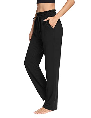 THANTH Womens Yoga Sweatpants Loose Wide Leg Comfy Lounge Pajama Pants Drawstring Straight Workout Joggers with Pockets