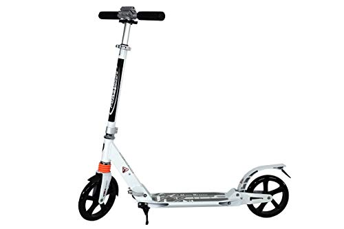 (Scooter Color White for Teenagers and Adults with Double Suspension, 2 Large Wheels | Folds Easily, Adjustable Height, Scooter for Urban Drivers, Supports up to 220 pounds of Weight.)