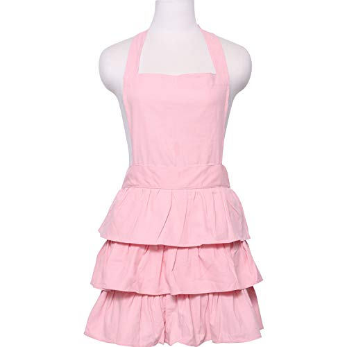 s Cooking Apron for Women with Ruffles, Solid Warm Pink ()